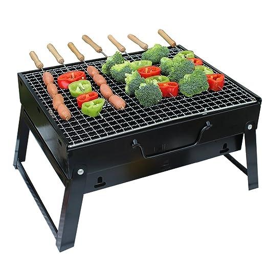 ALLESCOOL Barbacoa de Carbón Portátil con Parrillas y Pies Plegables para BBQ, Picnic, Acampadas, Camping, Comedor al Aire Libre