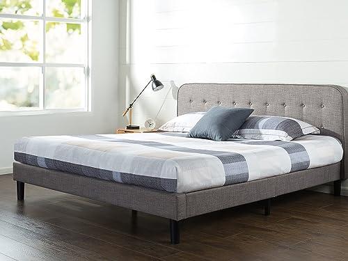 Zinus Melodey Upholstered Curved Platform Bed with Wooden Slat Support, King