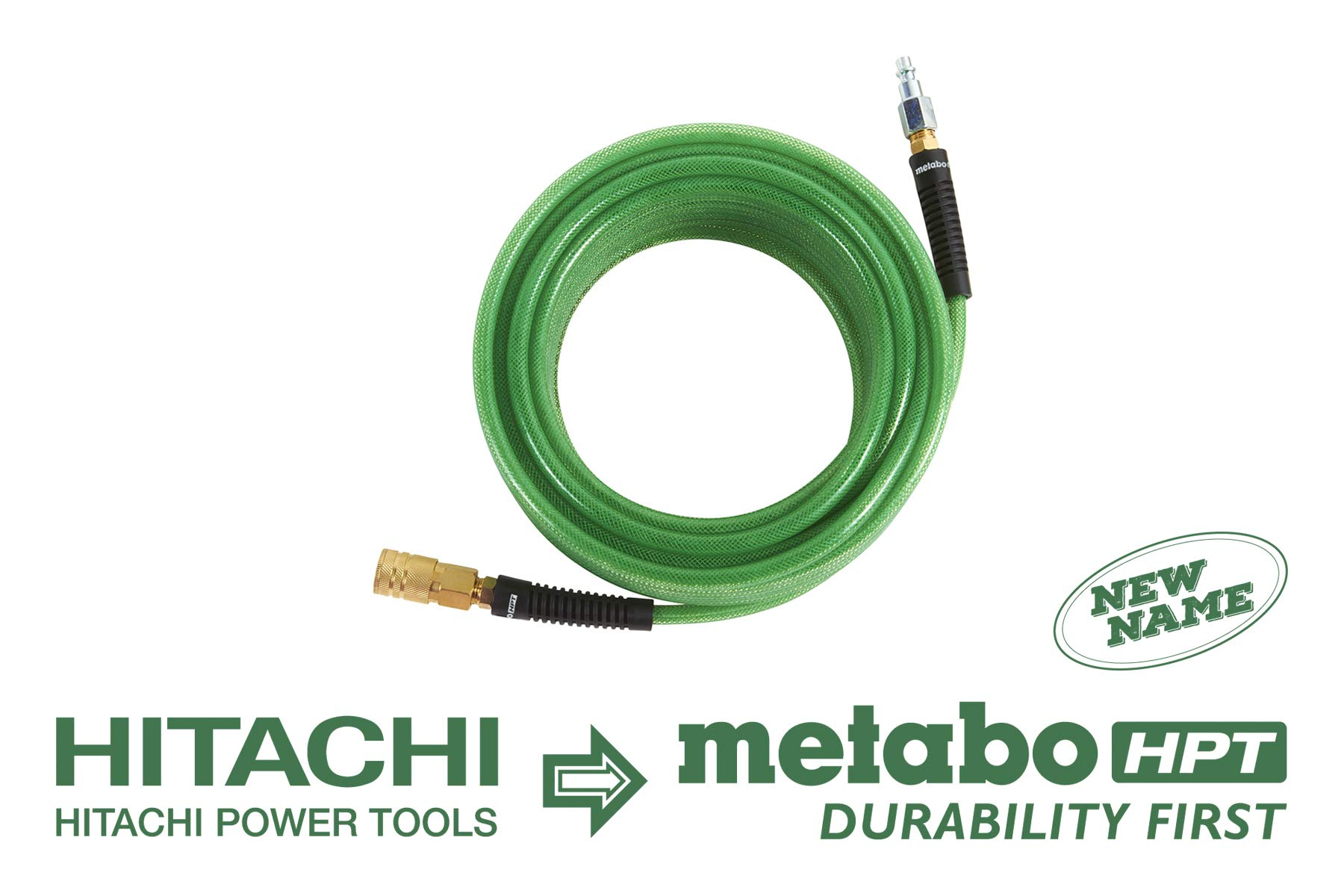 Metabo HPT 115155M Air Nailer Hose, 1/4-Inch x 50 Ft, Professional Grade Polyurethane, 1/4-Inch Industrial Fittings, 300 PSI, Remains Flexible in Cold Temperatures, Spiral Reinforced by Metabo HPT