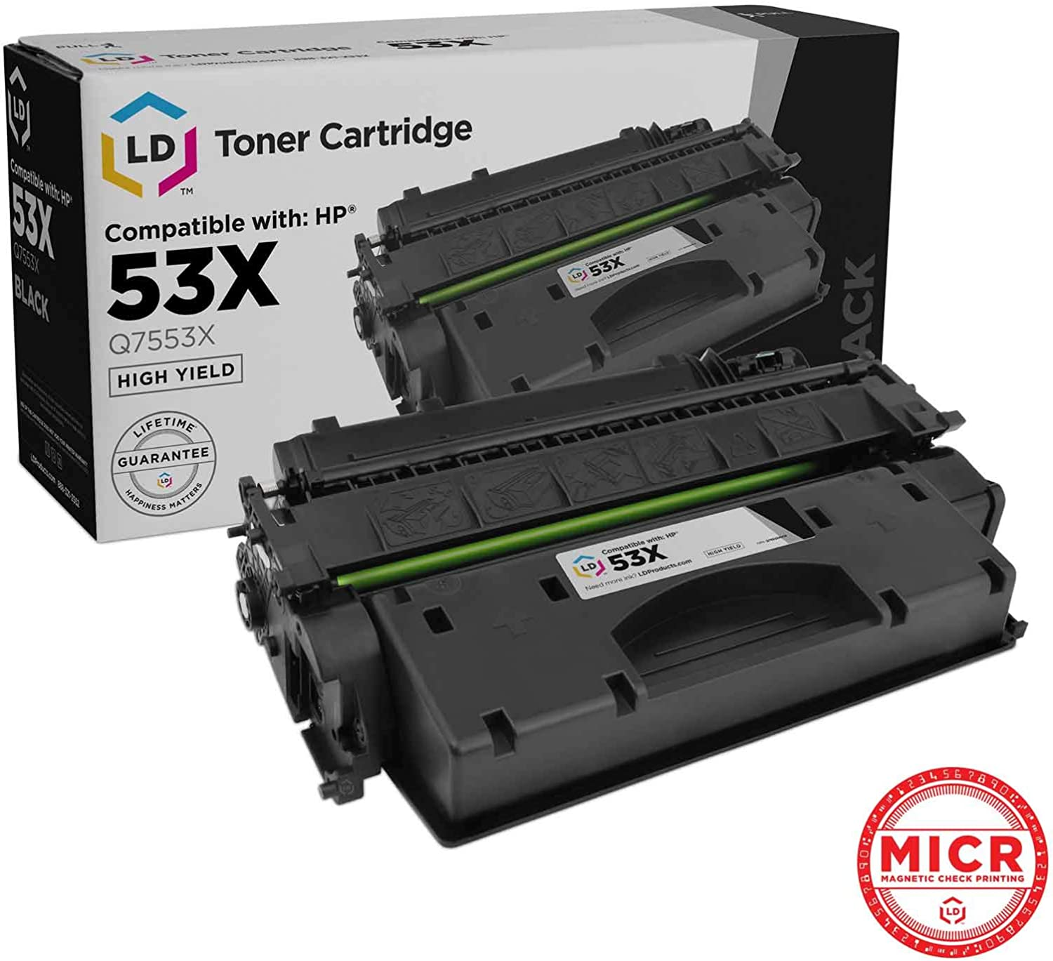 LD Compatible MICR Toner Cartridge Replacement for HP 53X Q7553X High Yield (Black)