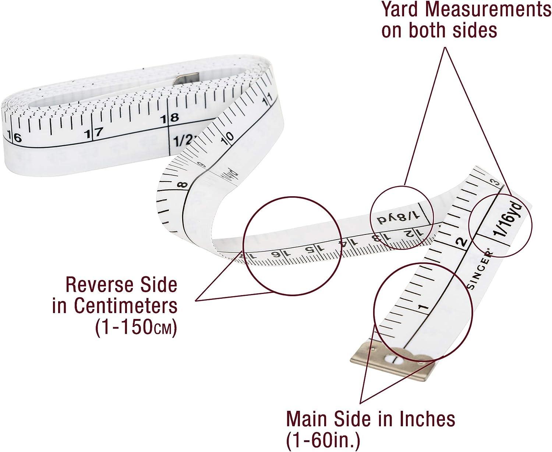 144-inches Set of 3 SINGER Yardage Marking Tape Measure