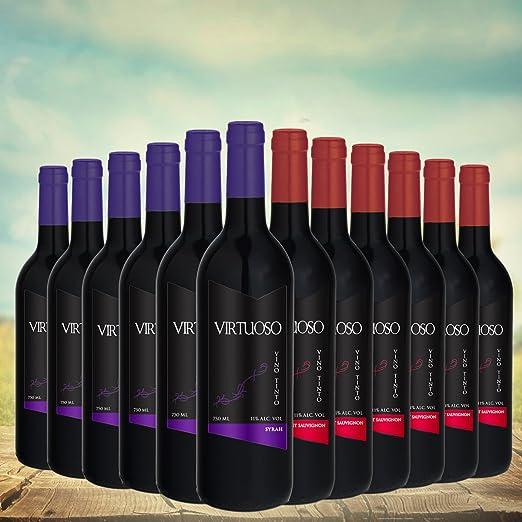 Selección Premium de 12 botellas de vino tinto Virtuoso: 6 Cabernet Sauvignon + 6 Syrah