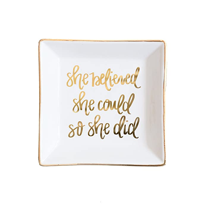 She Believed She Could Jewelry Dish | Square Gold Ring Trinket Tray Storage Inspirational Motivational Gift for Her Ceramic Organizer Office Decor Desk Accessories Hand Lettered