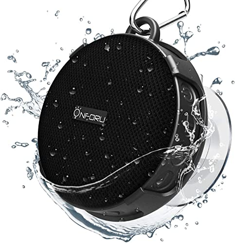 Onforu Shower Speaker, IPX7 Waterproof Outdoor Bluetooth Speaker with Suction Cup, Portable Mini Wireless Speaker with Built-in Mic, Stereo Sound and Bluetooth 5.0 for Bathroom, Pool, Beach