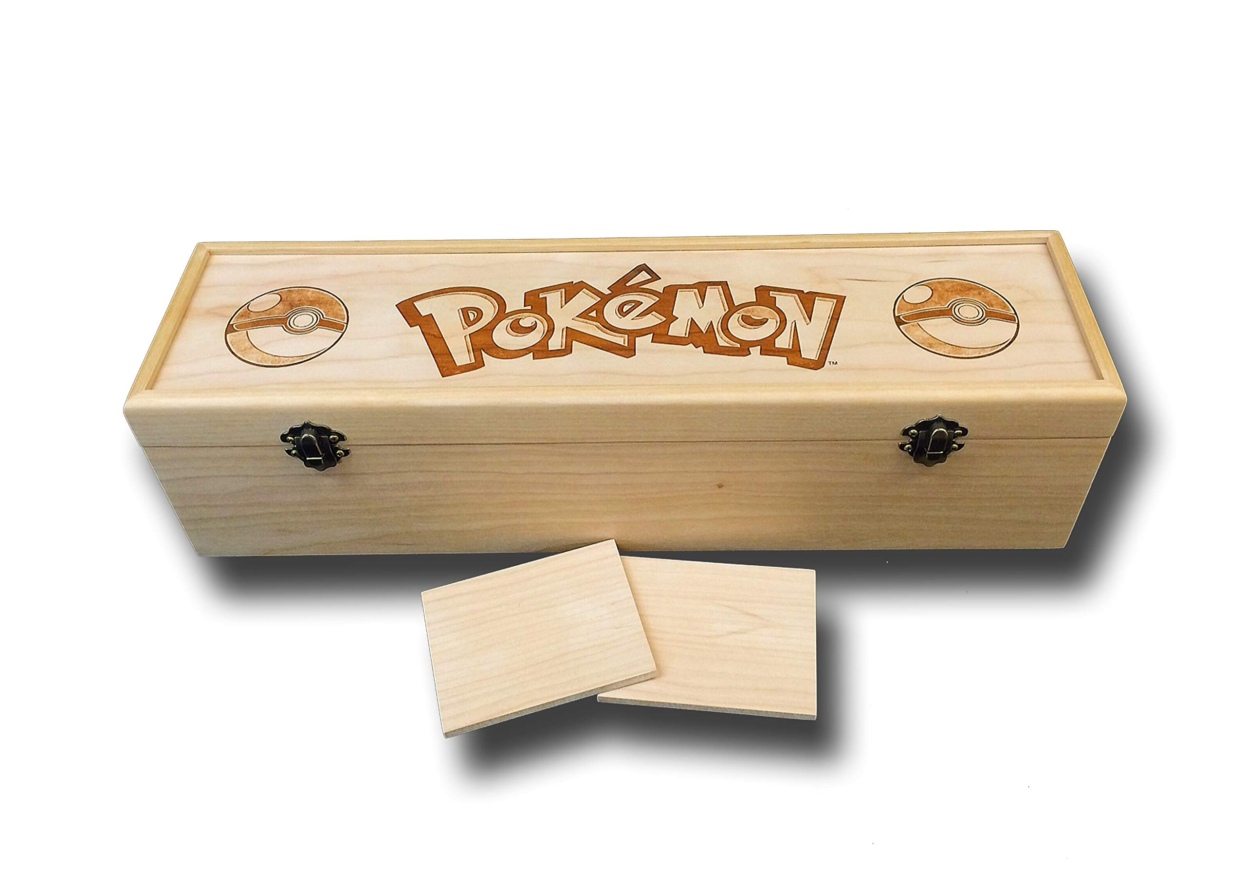 Pokemon Trading Card Game Engraved Deck Box with Hinges & 2 Latches-16 3/4x4 1/2 x4 1/4- Cherry Box with Antique Brass Hardware