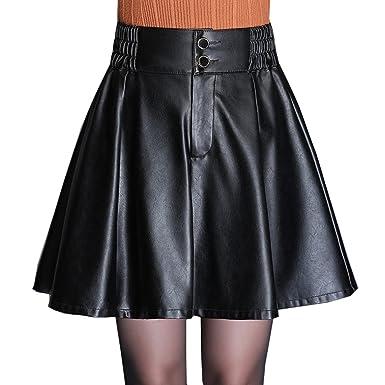 Las Mujeres De Moda De Cuero De La PU Falda Corta Plisada Cintura ...