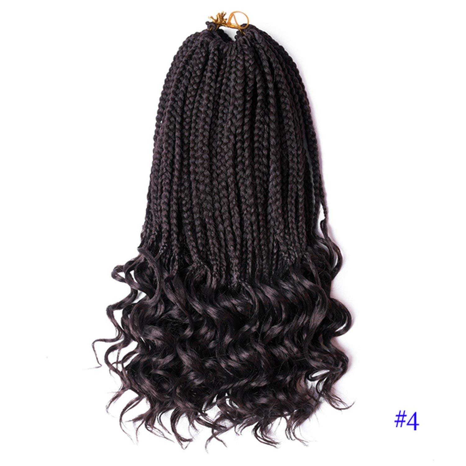 18 Inch Crochet Hair Box Braids Curly Ends Ombre Kanekalon Synthetic Hair for Braid 22 Strands Braiding Hair Extensions,#4,14inches,10Packs by Ting room