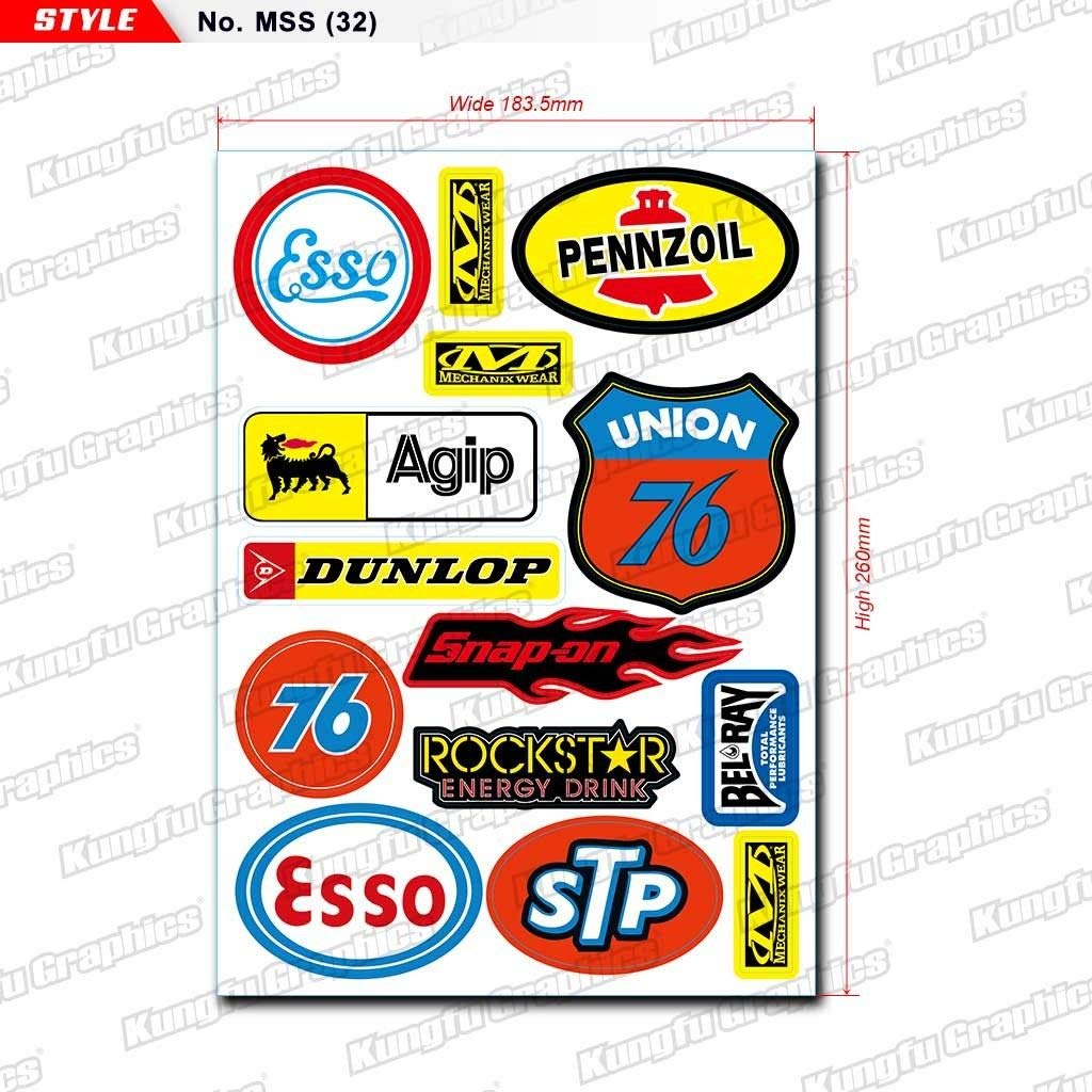 MSS 7.2x 10.2 inch 41 Kungfu Graphics Micro Sponsor Logo Racing Sticker Sheet Universal