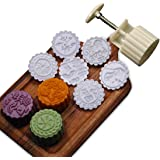Cookie Stamps Moon Cake Mold with 6 Stamps, 100g Cookie Press Mid Autumn Festival DIY Decoration Press Cake Cutter Mold