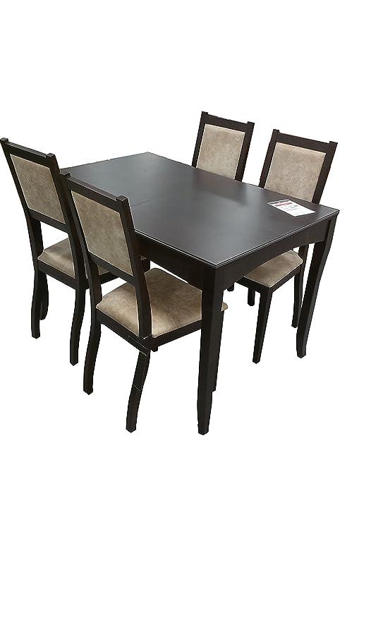 PJ Mesa Extensible de Comedor Completo con 4 sillas de Madera ...
