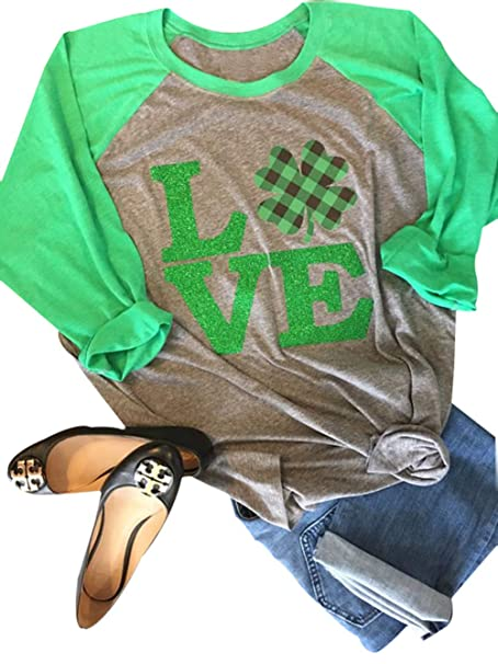 f42d5c423 Amazon.com: Anbech Love Clover Graphics Womens Shamrock St. Patrick Day  Plaid Raglan 3/4 Sleeve Baseball Tee Tops: Clothing