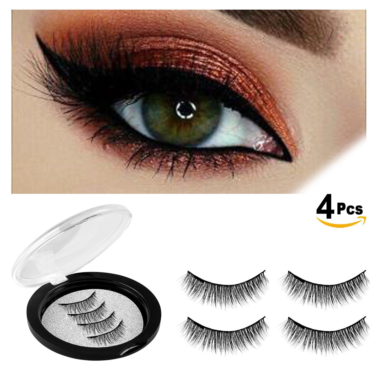 bf230b8bde5 Amazon.com : Magnetic Eyelashes No Glue-Reusable False Eyelashes Set for  Natural Look, 3D Reusable Full Eye Fake Lashes Extensions By Verfanny-  Thick Soft ...