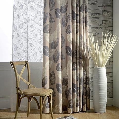 Blackout Leaf Curtains Grey White   Anady Top 2 Panel Linen Cotton Khaki  Curtains Drapes For