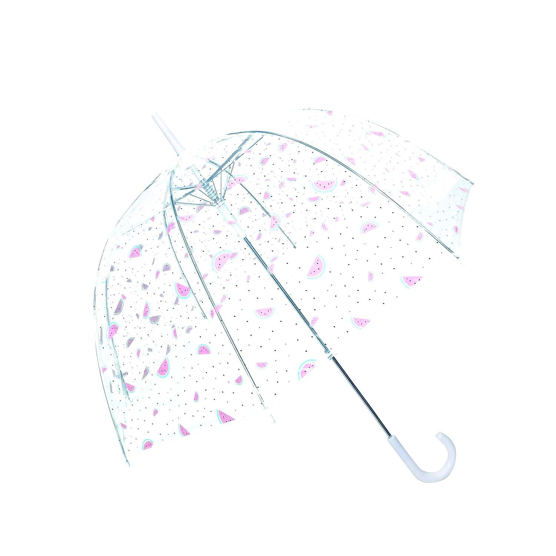 SMATI Stick Birdcage Clear Umbrella dome transparent - Automatic open (Pink)