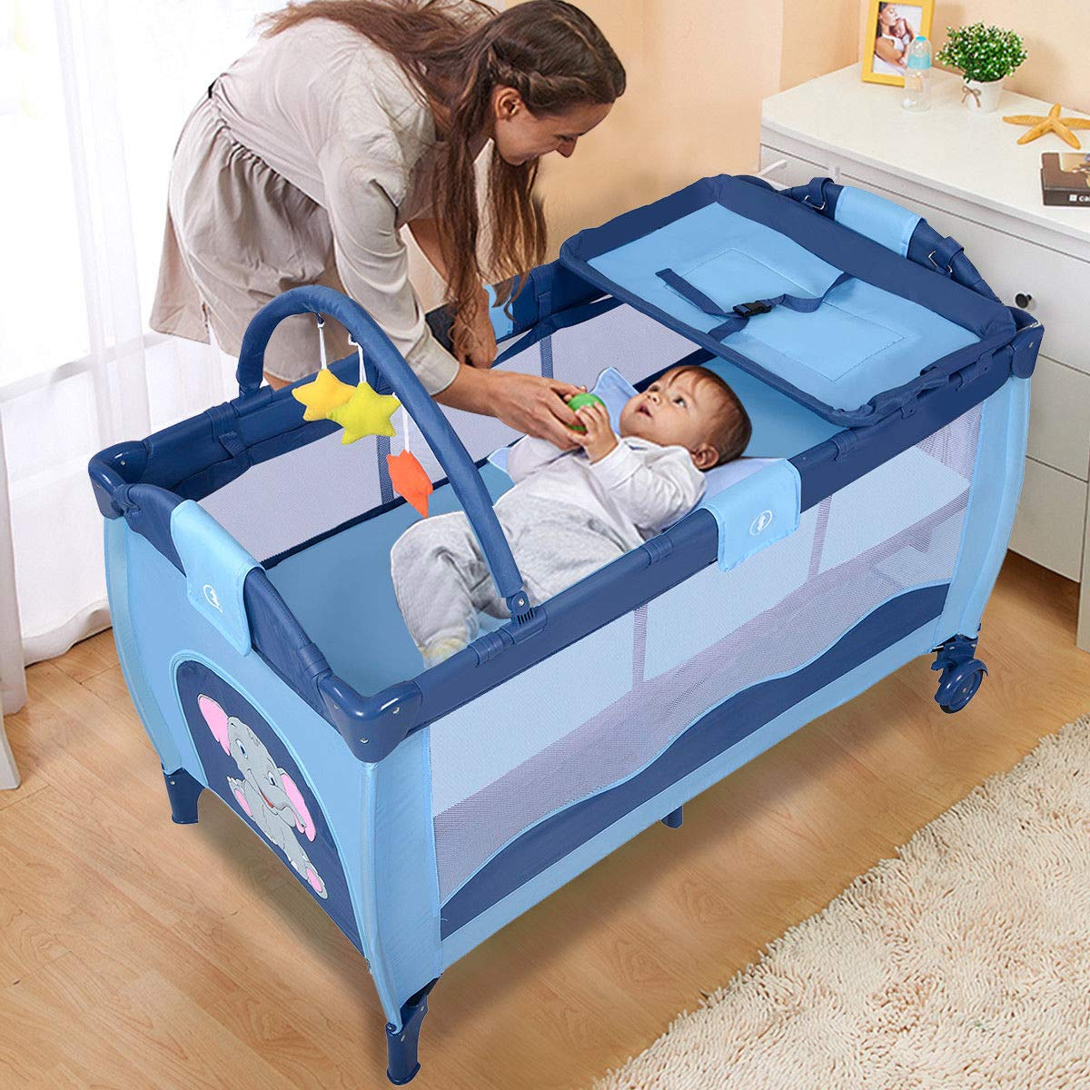 Toddler Baby Crib Playard Pack Playpen Bassinet Travel Infant Bed Portable Foldable by WealthyPlaza (Image #2)