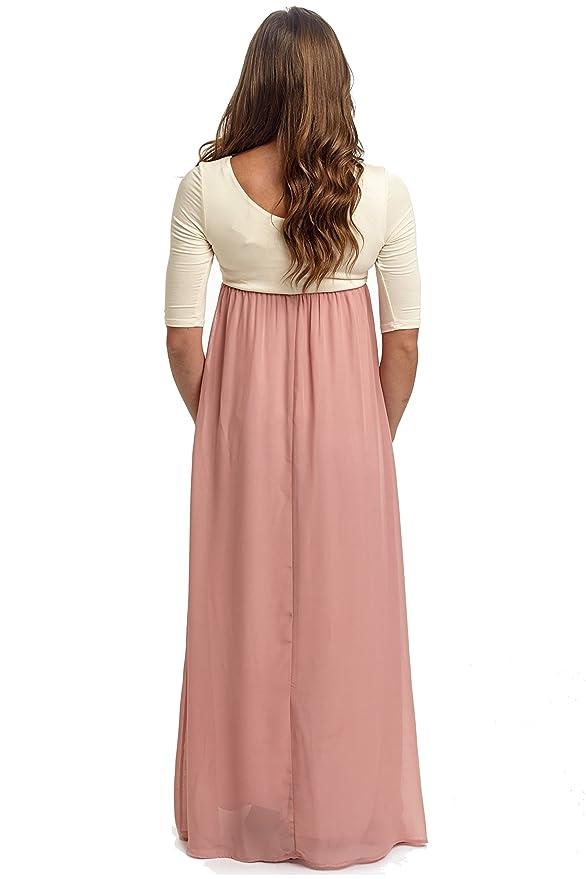 cc64d24fe1d1 PinkBlush Maternity Blush Pink Chiffon Colorblock Maternity Maxi Dress,  Small at Amazon Women's Clothing store: