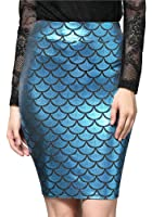 OFEEFAN Women's Fish Scale Print Stretch Bodycon Pencil Midi Skirts