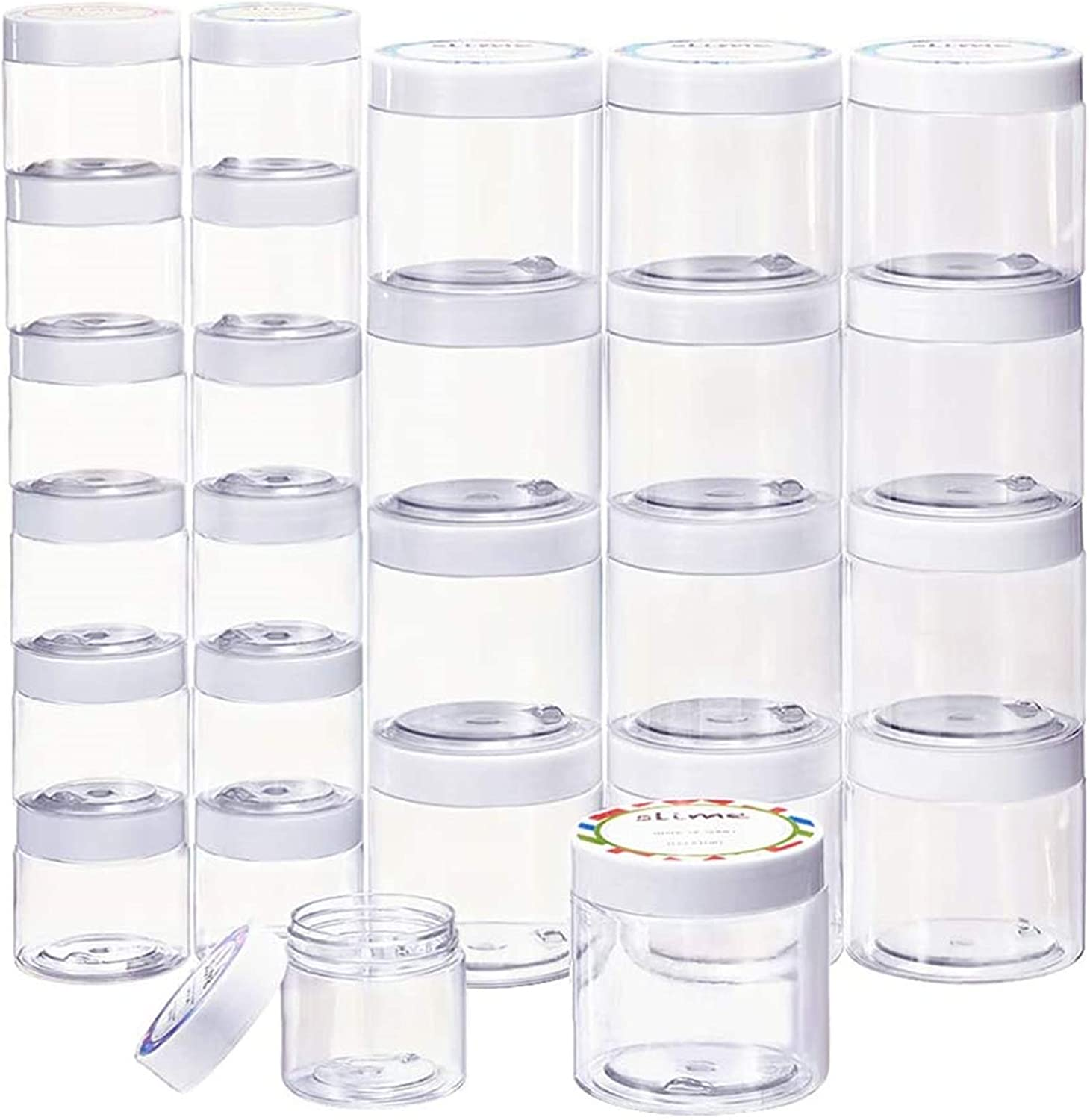 SGHUO 24 Pack Empty Slime Containers with Water-Tight Lids, 12pcs 6oz and 12pcs 2oz Plastic Storage Jars with Labels for Slime Making, Food, Beauty Products