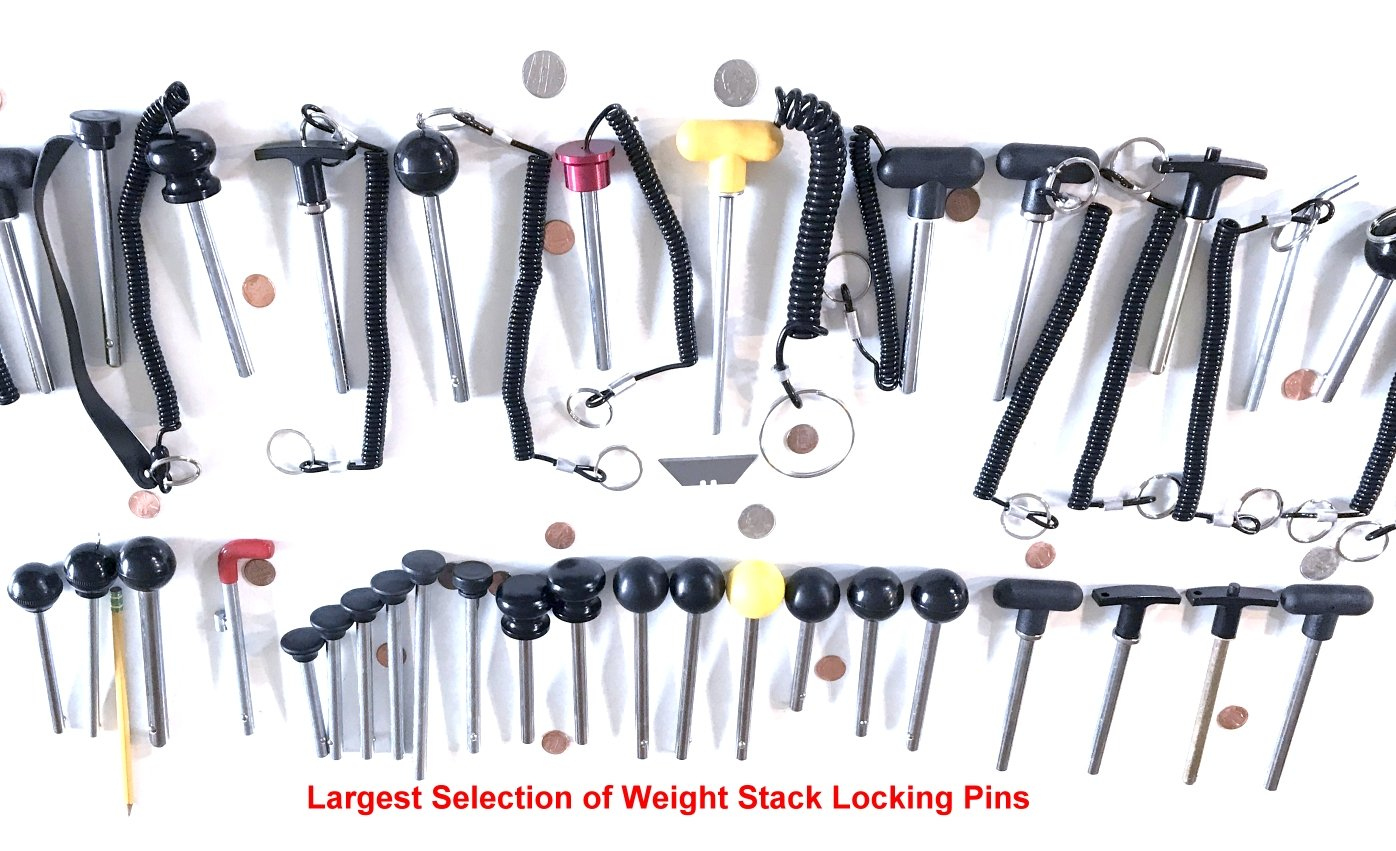 "SB Distribution Ltd. (Pack of 8) Push Release Steel Pin, Tensile 3/8'' Dia Shaft 5-1/2'' Locking Space w/Deluxe Aluminum T Knob | ""Universal Weight Stack – Replacement Pins 
