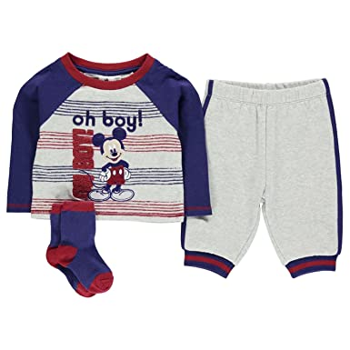 3bf381480301 Disney Mickey Mouse 3 Piece Jogger Set Infant Baby Blue Grey Clothes ...