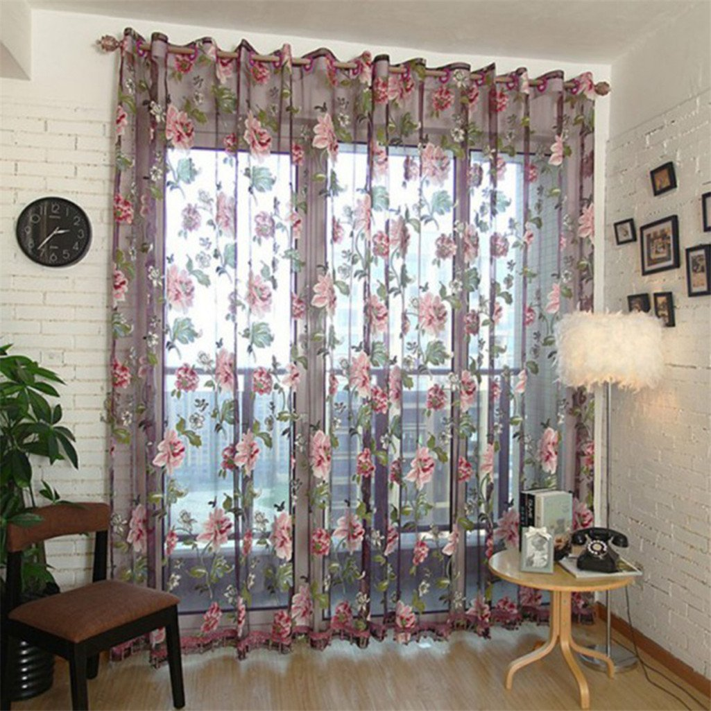 Heart Speaker Home Textile Flower Embroidered Chinese Fabric Tulle Sheer 3D Window Curtain Size 100cm x 200cm(On Rod) (Brown)