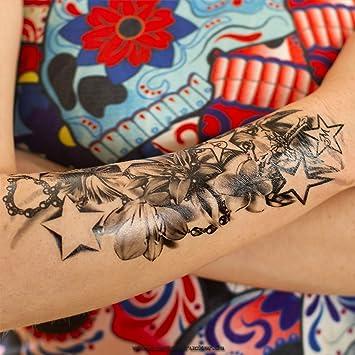 2 X Lotus Blumen Kette Kreuz Sterne Tattoo In Schwarz Einmal