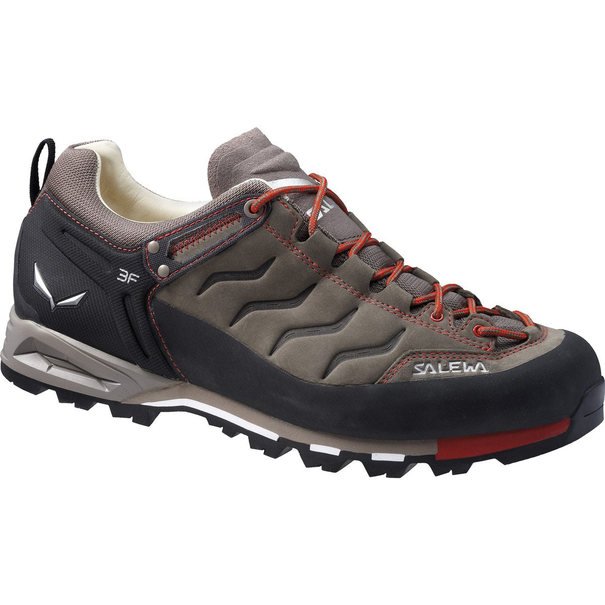 Salewa Men's Mountain Trainer Leather Approach Shoe, Bungee Cord/Firebrick, 9.5