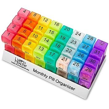 Organizador de pastillas mensuales, 32 compartimentos, organizador de pastillas, 2 veces al día, dispensador de pastillas y organizador por MEDca: ...