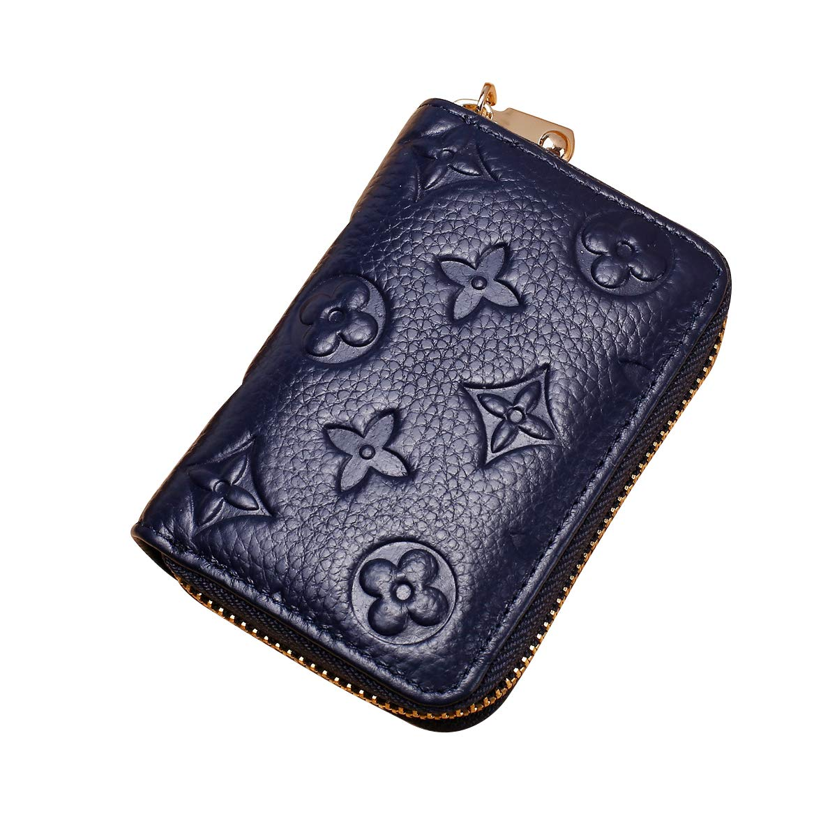 Auner Womens Wallet RFID Blocking Genuine Leather Multi Credit Card Holder Zipper Small Wallets - Blue