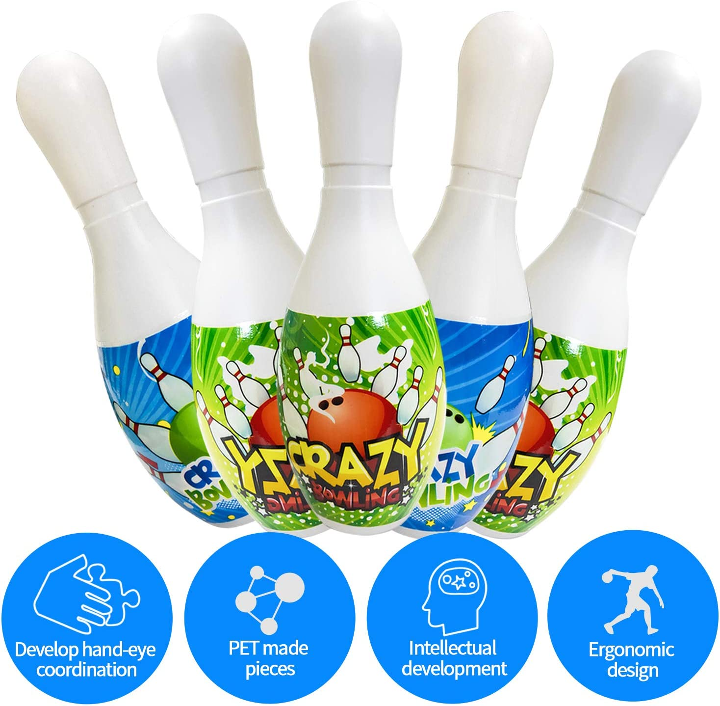 Kids Bowling Set Toys for Boys Girls Indoor Outdoor Games Gifts,Great for Toddler Preschoolers and School-Age Kids