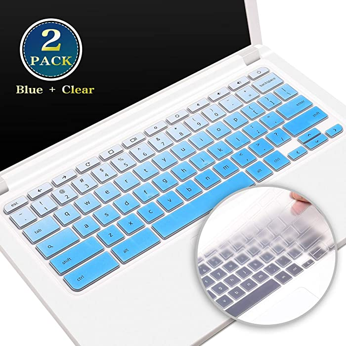 """2 Pack Silicone Keyboard Cover Skin for 2020 2019 2018 Acer 11.6 inch Chromebook CB3-132 CB3-131 Series, Acer Chromebook Spin 11 CP311, Acer Premium R11 Chromebook 11.6"""" (Ombre Blue+Clear)"""