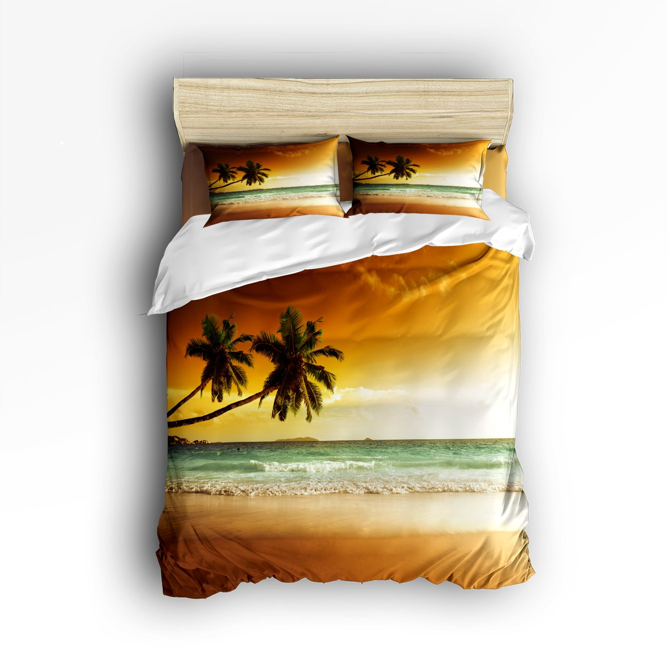 Palm Coconut Trees And Ocean Waves Sunset Home Comforter Cover Bedding Sets Duvet Cover Sets Bedspread for Adult Kids, Flat Sheet, Shams Set 4 Pieces 4 Pcs Twin Size for Kids Teenage Teens