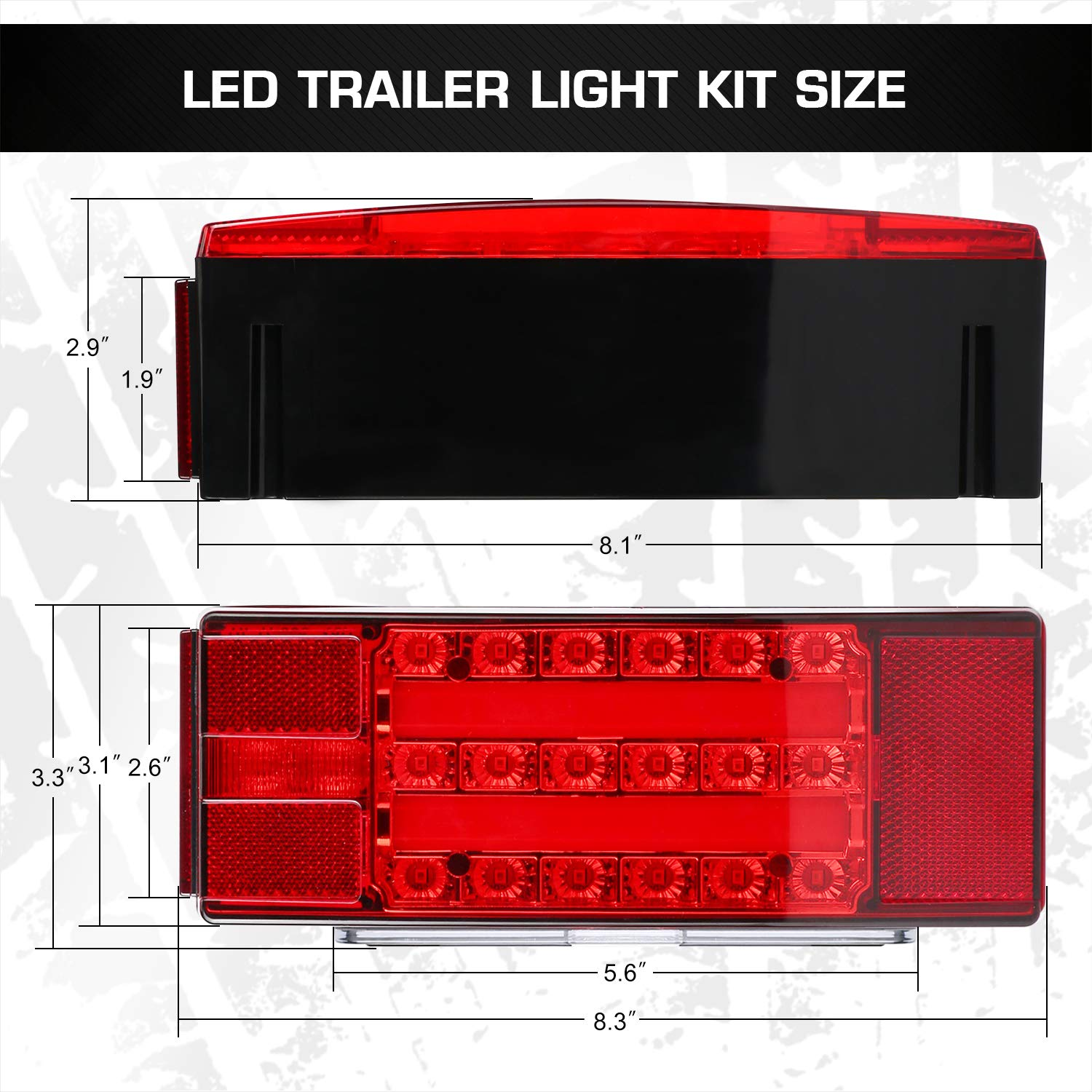 WoneNice LED Submersible Trailer Tail Light Kit Square LED Trailer Lights Halo Glow with Wiring Harness Combined Stop Tail Lights Turn Indicator for Boat Trailer Vehicle RV Truck Caravan 12V