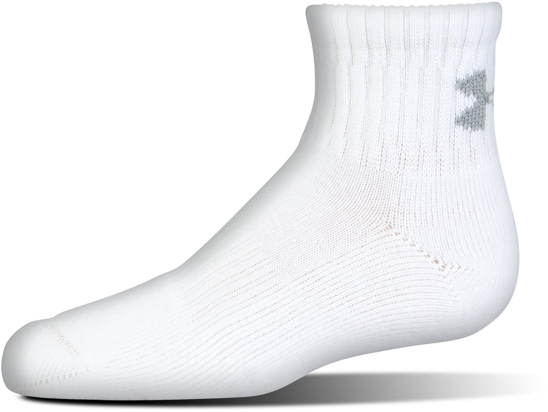 6 Pack Under Armour Boys Charged Cotton 2.0 Quarter Socks Under Armour Socks U321B-P