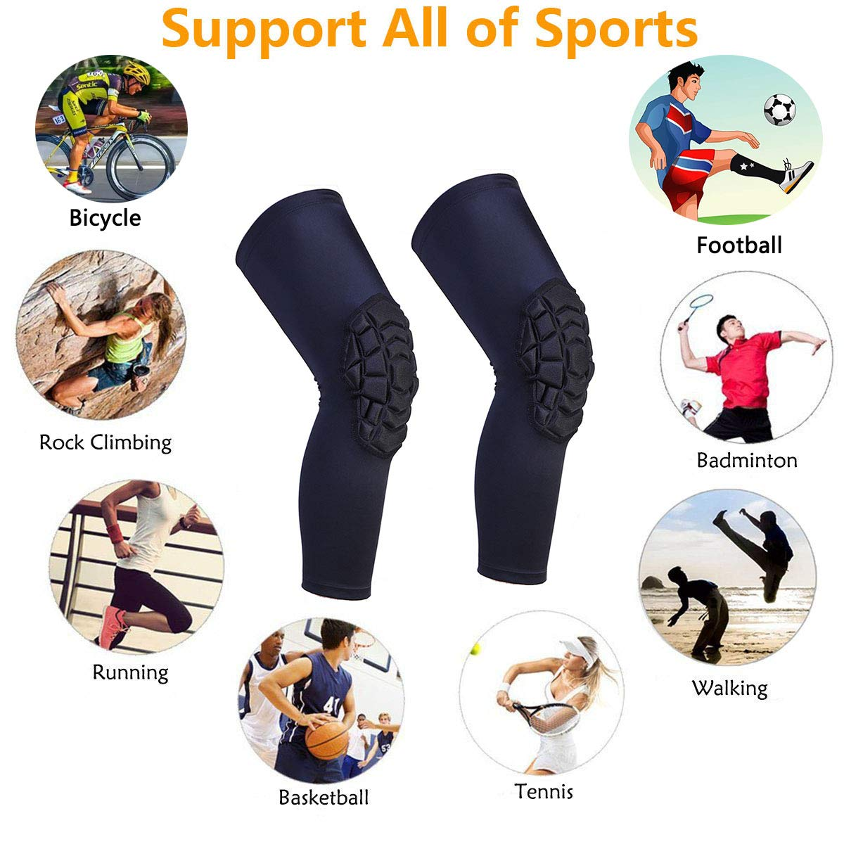 1 pair Knee Compression Sleeves Pads Honeycomb Crashproof Antislip Basketball Leg Knee Sleeve Protective Pad Support Guard Padded Breathable Compression Wear Hexpad