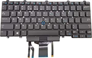 Moon2020 Replacement US Keyboard for Dell Latitude E5450 E5470 E7450 E7470 7480 7490 5480 5488 0D19TR, D19TR, NSK-LK0BC, NSK-LK6LN, PK1313D1B00 Laptop No Frame, with Pointer, with Backlight