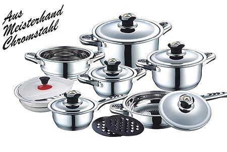 Wellness & Care - Batería de cocina (16 piezas, acero ...