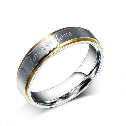 """Onefeart Mujeres Titanio Anillo Hombres Anillos de bodas,""""forever love"""" 6MM Oro"""