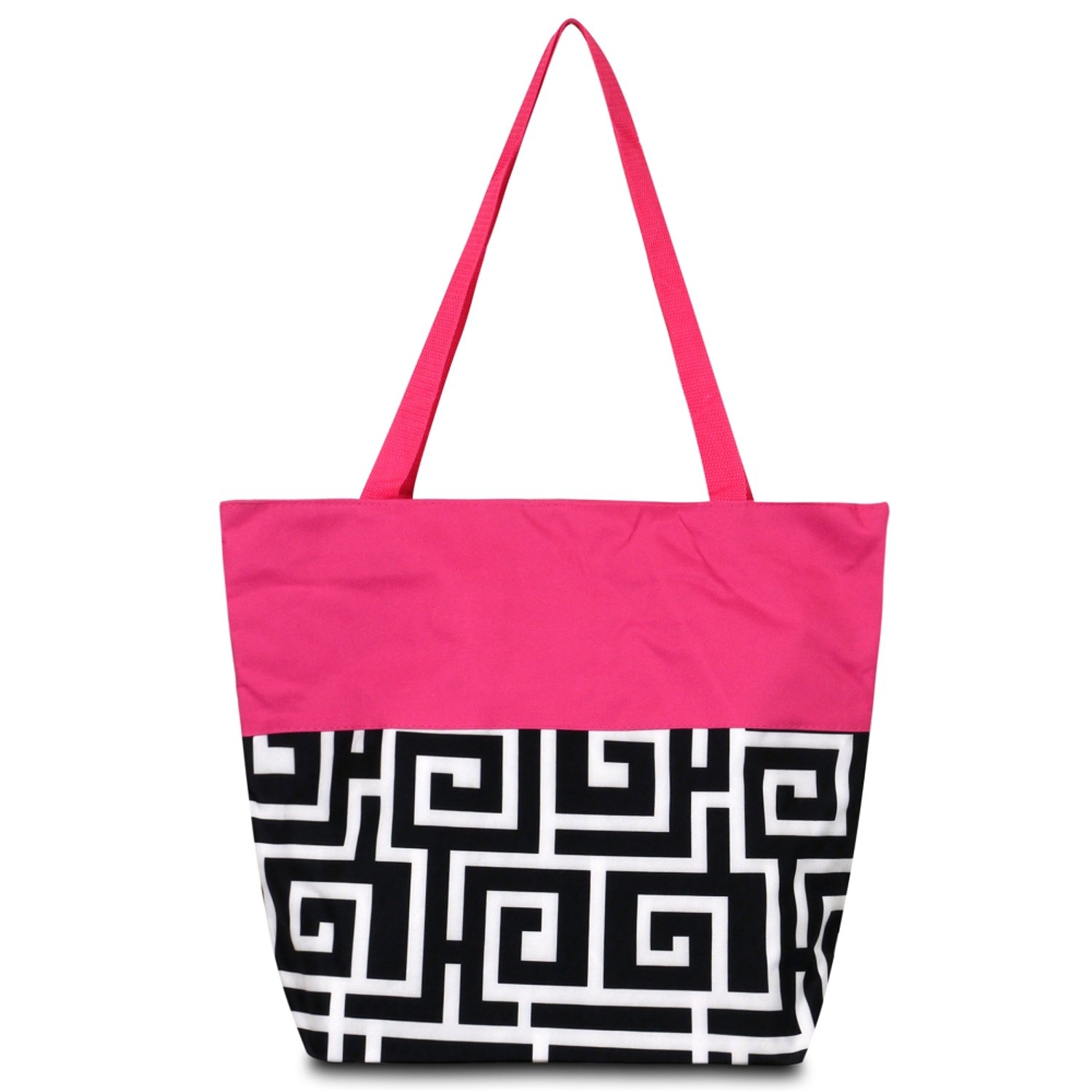 zodaca Large All Purpose Travel Toteバッグ B073QHLRG6  Black Greek Key with Pink Trim