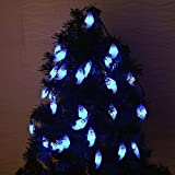 FSTgo Outdoor String Lights Solar Powered with 30 Blue LEDs String Lights 6M Halloween Ghost Lights Home Decoration for Gardens Christmas Tree
