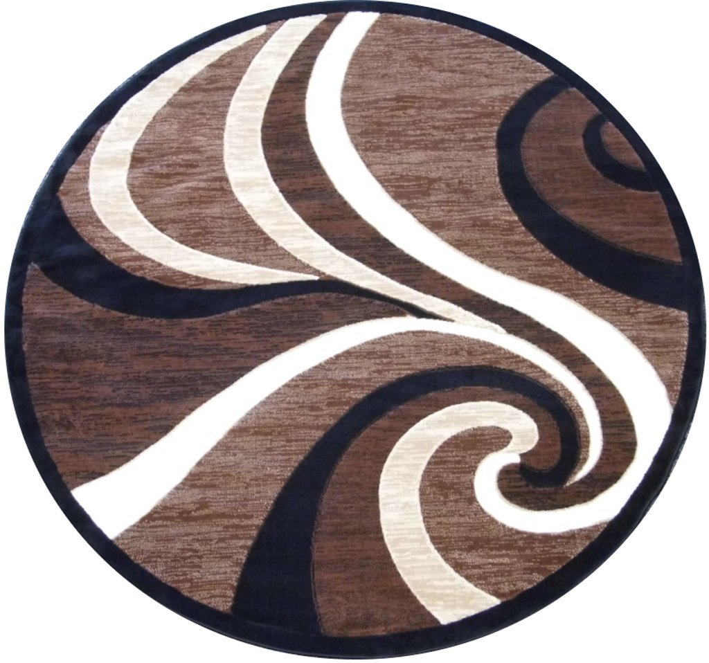 amazoncom modern round area rug  feet x  feet brown   - amazoncom modern round area rug  feet x  feet brown  kitchen dining
