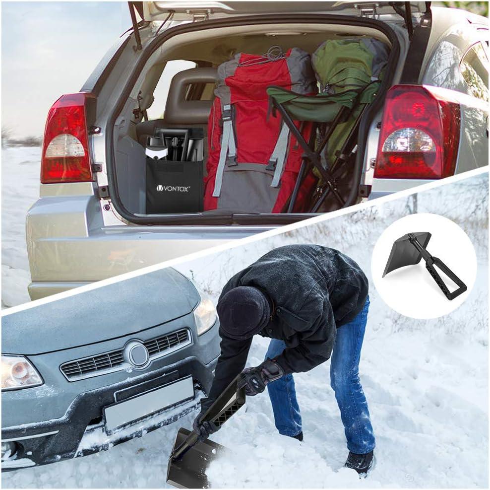 SUV(Schwarz) Kompakte zusammenklappbar f/ür PKW V VONTOX Schneeschaufel LKW Emergency Klappbare Schneeschaufel mit D-Grip-Griff und haltbarem Aluminium//mit Auto Schneeschaufel Tragbar