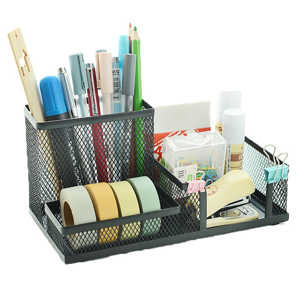 VANRA Metal Mesh Desk Organizer Office Supply Caddy Pen Holder Pencil Cup Desktop Supply Organizer 3 Compartments (Black)