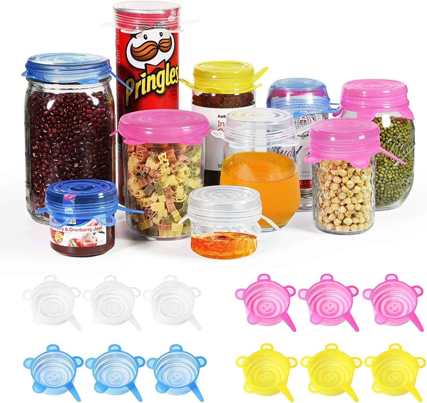 longzon Tapas Silicona Ajustables Cocina, 18 piezas de Tapas de Silicona Reutilizables Ecológicas de 6.5cm, Tapas Silicona para Latas, Sin BPA, para Lavavajillas, Microondas, Refrigerador - Redonda