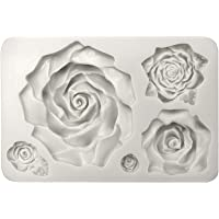 Funshowcase Large 5 Assorted Sizes Roses Resin Fondant Candy Silicone Mould for Sugarcraft, Cake Decoration, Cupcake Topper, Chocolate, Butter, Jewelry, Polymer Clay, Soap Making 13.3x8.5x2.2cm