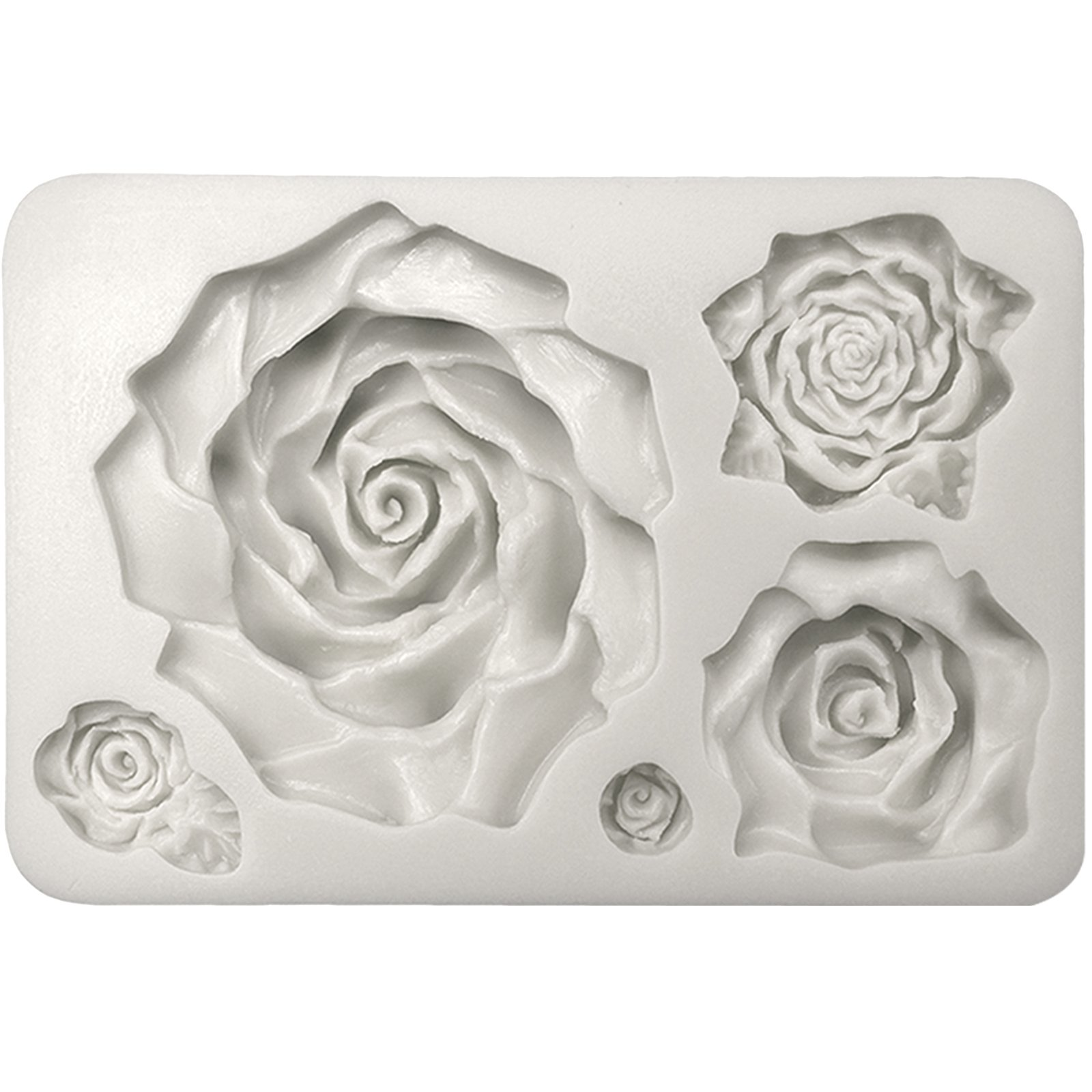 Funshowcase Large 5 Assorted Sizes Roses Resin Fondant Candy Silicone Mold for Sugarcraft, Cake Decoration, Cupcake Topper, Chocolate, Butter, Jewelry, Polymer Clay, Soap Making 13.3x8.5x2.2cm by FUNSHOWCASE