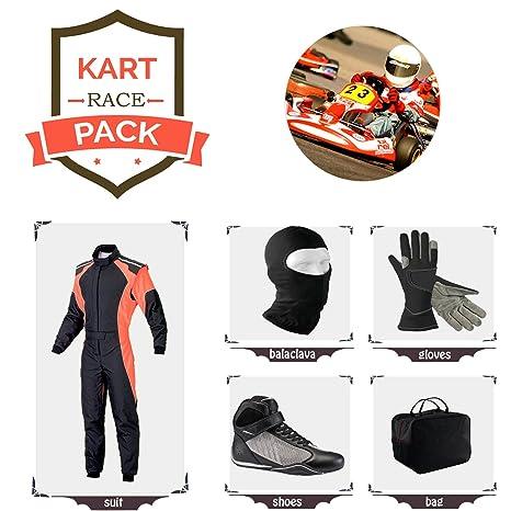 Amazon.com: Deporte Azul Go Kart Racing traje, guantes ...