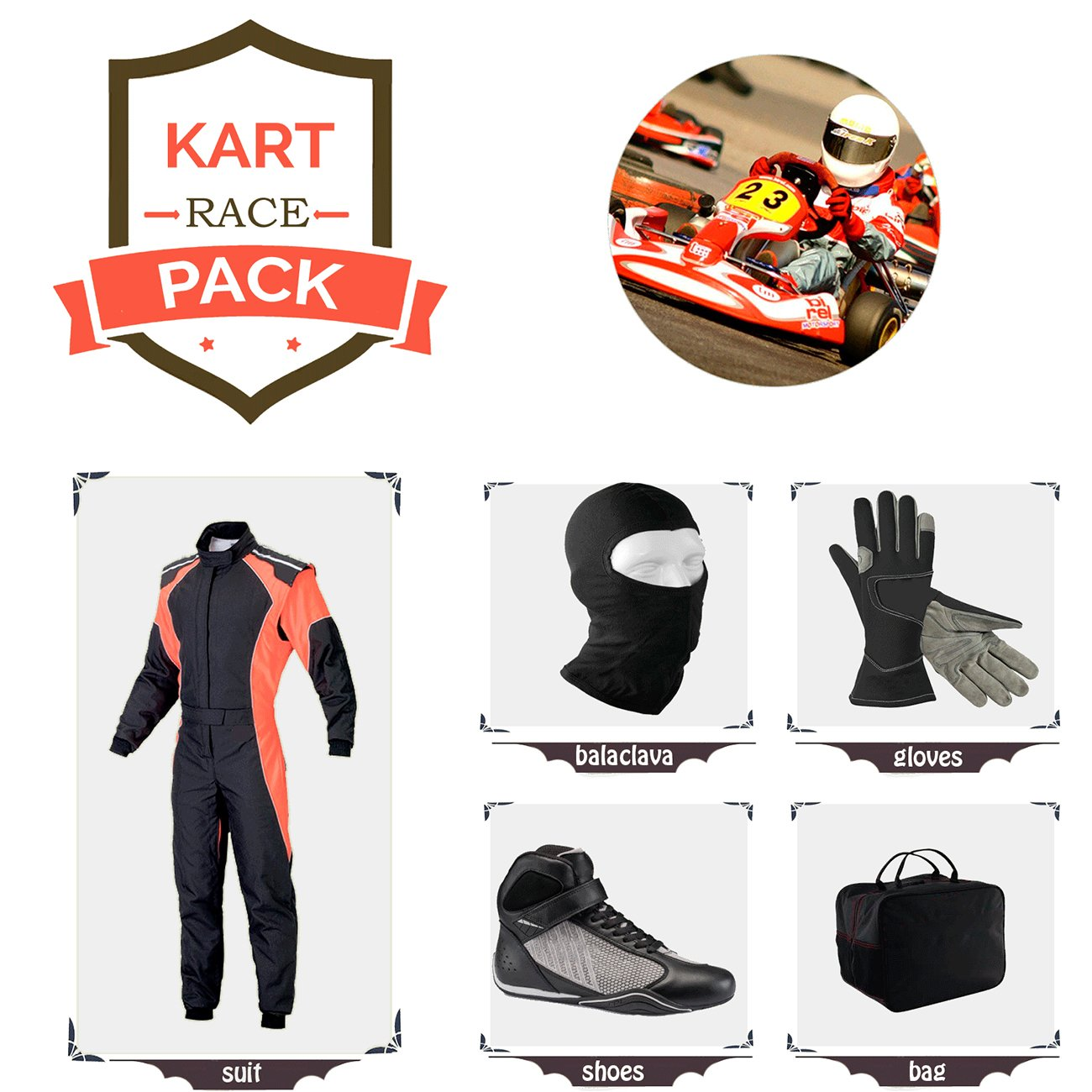 Sports Blue Go Kart Racing Suit Suit,Gloves,Balaclava and Shoes Free Bag - Black with Orange Side Style