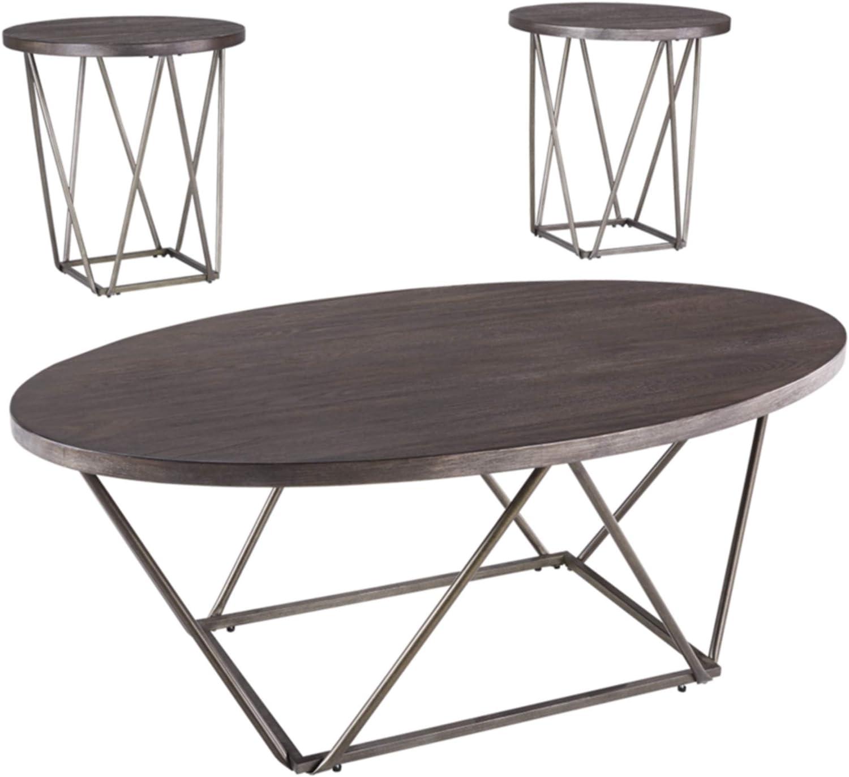 Ashley Furniture Signature Design - Neimhurst Occasional Table Set - Set of 3 - Sleek Brown