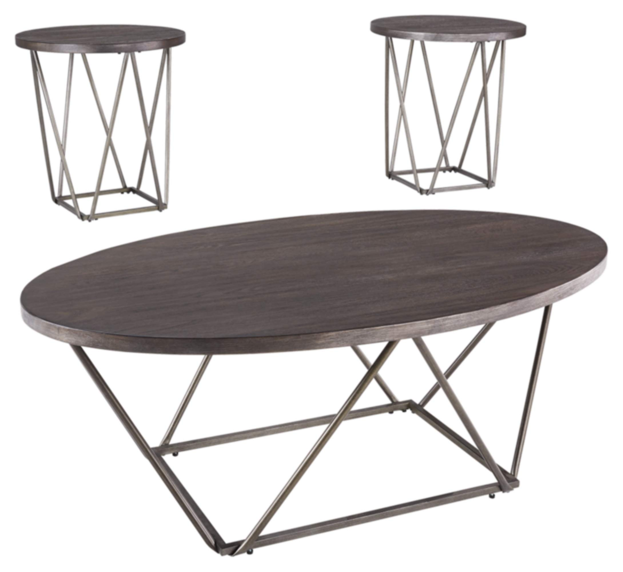 Ashley Furniture Signature Design - Neimhurst Occasional Table Set - Set of 3 - Sleek Brown by Signature Design by Ashley